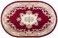 Bild: Ovaler Aubusson Design Teppich Ming 501 (Rot; 190 x 290 cm)