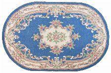 Bild: Ovaler Aubusson Design Teppich Ming 501 (Blau; 190 x 290 cm)
