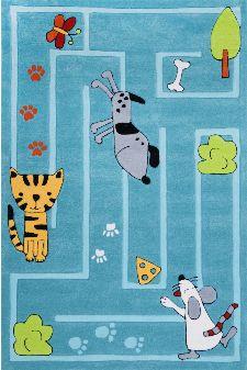 Bild: Kinderteppich Tiere Kindergarten MH-4128 (Türkis; 120 x 180 cm)