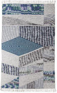 Bild: Vintage Teppich mit Fransen - Modern Kelim (Türkis; 140 x 200 cm)
