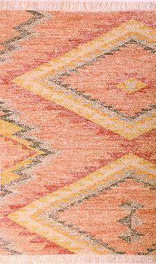 Bild: Ethno Teppich mit Fransen - Zigzag Kelim (Beere; 160 x 230 cm)