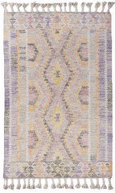 Bild: Vintage Teppich mit Fransen - Check Kelim (Purple; 140 x 200 cm)