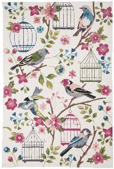 Bild: Gino Falcone Teppich Rosetta - BIRDS (Weiß/Rosa; 160 x 230 cm)