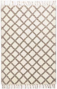 Bild: Fransenteppich Marmoucha (Schwarz/Weiß; wishsize)