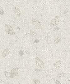 Bild: Glimmer Blätter Tapete 4503 (Beige/Silber)