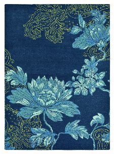 Bild: Schurwollteppich Fable Floral - Navy