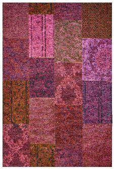 Bild: Jaquard Flachgewebe Teppich - Patchwork - Fuchsia