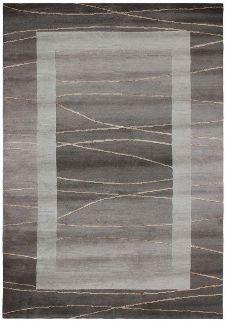 Bild: Original Nepal Bordürenteppich Linea - Hellbraun