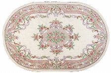 Bild: Ovaler Aubusson Design Teppich Ming 501 - Beige