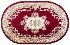 Bild: Ovaler Aubusson Design Teppich Ming 501 - Rot