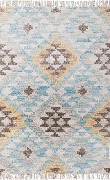 Bild: Vintage Teppich mit Fransen - Check Kelim - Türkis