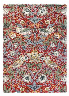 Bild: Morris & Co. Wollteppich Strawberry Thief (Crimson; 170 x 240 cm)