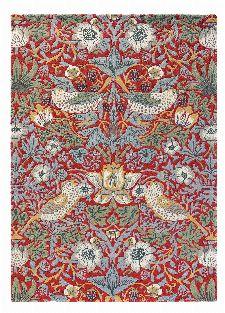 Bild: Morris & Co. Wollteppich Strawberry Thief (Crimson; wishsize)