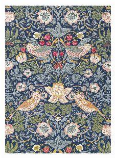 Bild: Morris & Co. Wollteppich Strawberry Thief (Indigo; 200 x 280 cm)