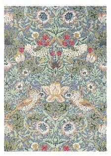Bild: Morris & Co. Wollteppich Strawberry Thief (Slate; 140 x 200 cm)