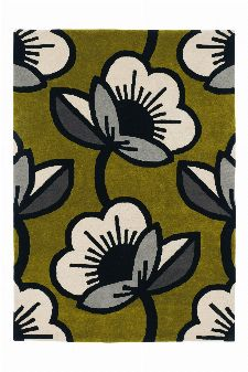 Bild: Orla Kiely Designerteppich Passion Flower Olive (Olive; 160 x 230 cm)