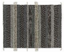 Bild: SCHÖNER WOHNEN Flachgewebeteppich - Botana Streifen (Dunkelgrau/Beige; 200 x 140 cm)